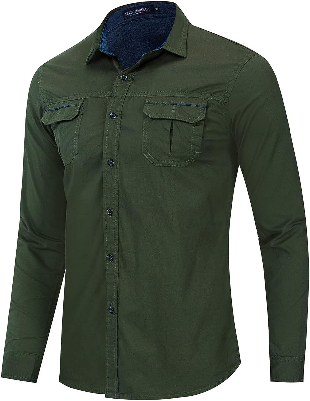 Men's Casual Dress Shirt Button Down Shirts Long-Sleeve Denim Work Shirt Men's Regular-Fit Pocket Oxford Shirt