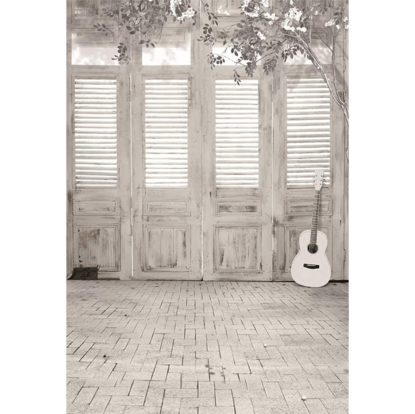 CSFOTO 3x5ft Interior Decoration Backdrop Living Room Decor Background for Photography Bedroom Decor Baby Shower Birthday Party Banner Black and White Color Guitar Kids Portraits Studio Props