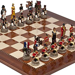 Hand Painted Napoleon & The Duke of Wellington Chessmen & Chelsea Park Deluxe Mahogany Chess Board from Spain