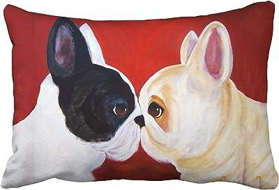 Custom Cute Love French Bulldog Animal Oil Painting Art Pillowcase 20x30 inch