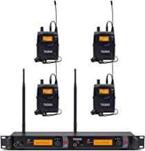 Wireless in Ear Monitor System UHF Pro Audio 2 Channels 4 Receivers Bodypacks Monitoring with LCD Display