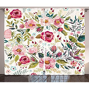 Ambesonne Floral Curtains, Shabby Chic Flowers Roses Pedals Dots Leaves Buds Spring Season Theme Image Artwork, Living Room Bedroom Window Drapes 2 Panel Set, 108W X 84L Inches, Multicolor