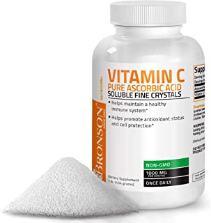 Vitamin C Powder Pure Ascorbic Acid Soluble Fine Non GMO Crystals – Promotes Healthy Immune System and Cell Protection – P...