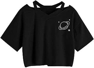 TOPUNDER Summer Women Casual Shirt Planet Printed Tank Short Sleeve Blouse Crop Tops