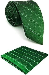 SHLAX&WING Silk Mens Tie Dark Green Checkes Neckties for Men Business Unique