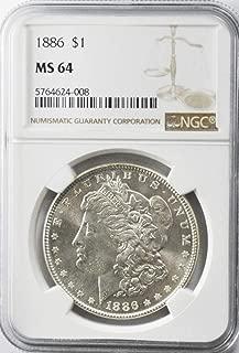 1886 P Morgan Silver Dollar Brilliant Uncirculated AZM6 $1 MS64 NGC