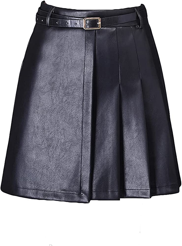 ATHX Women's Faux Leather Skirt A Line Mini Skirt with Belt