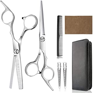 Hair Cutting Scissors, Professional Hair Cutting Shears - Home Haircutting Barber Salon Thinning Shears Kit with Comb and ...