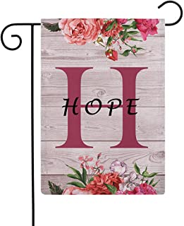 """ULOVE LOVE YOURSELF Flowers Small Garden Flags with Monogram Letter H """"Hope"""" Double Sided Burlap Garden Flags 12.5×18 Inch..."""