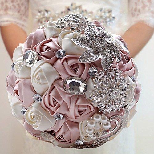 Fouriding - Bouquet da sposa, di lusso, con rose e nastro, con perline strass Rose1