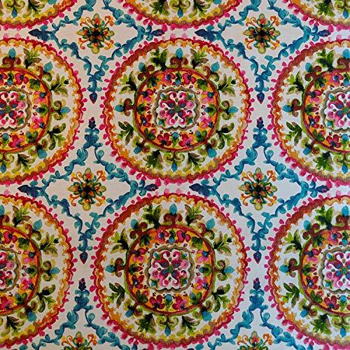 Stoff mit marokkanischen Blumen und Dashiki-Mustern, Baumwollanteil, Leinenoptik, für Vorhänge, Vorhänge, Basteln, Quilten, Patchwork und Polstermöbel, 140 cm breit, Meterware