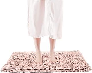 バスマット 足ふきマット 速乾 吸水 丸洗い キッチン お風呂 玄関 ドア 滑り止め ふわふわ 51cm×81cm ピンク ASHMORE