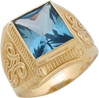 Jewelry Liquidation 10k Yellow Gold Simulated Aqua March Birthstone Mens Wide Ring