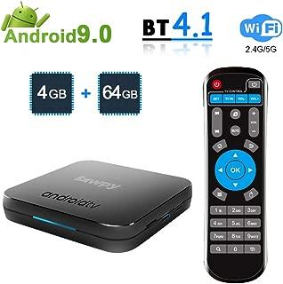 Sawpy KM9 Android 9.0 tv Box 4GB RAM LPDDR4 + 64GB ROM Smart Network Set Top Box 2.4GHz/5GHz WiFi 4.1 Bluetooth 4K Smart TV Box Amlogic S905X2 Quad core ARM Cortex-A53 CPU