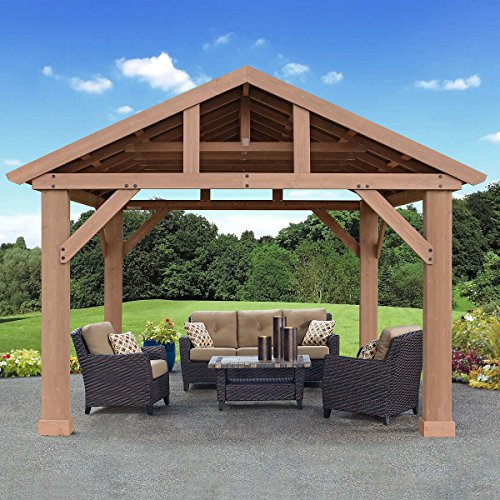 Pre-Stained Premium Cedar Wood & Aluminum 14 x 12 Outdoor Pavilion Gazebo