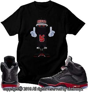 edc44c45d126 Custom T Shirt Matching Style of Air Jordan 5 Retro Satin Bred JD 5-1