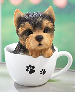 The Lakeside Collection Teacup Pup Figurine - Cute Dog Statue in Teacup - Yorkie