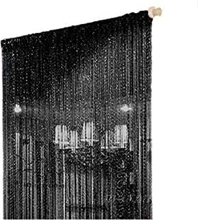 Duosuny 110x110 Inch Door String Curtain Rare Flat Silver Ribbon Thread Fringe Window Panel Room Divider Cute Strip Tassel for Wedding Coffee House Restaurant Party Parts (Black)