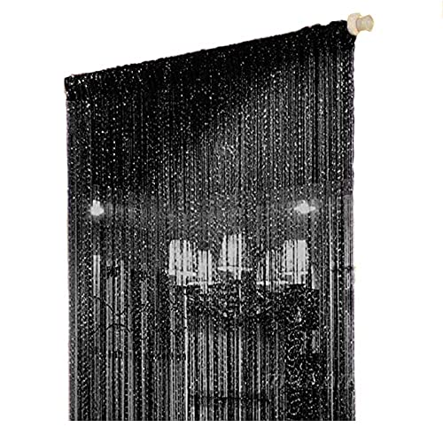 Duosuny 39x78 Inch Door String Curtain Rare Flat Silver Ribbon Thread  Fringe Window Panel Room Divider