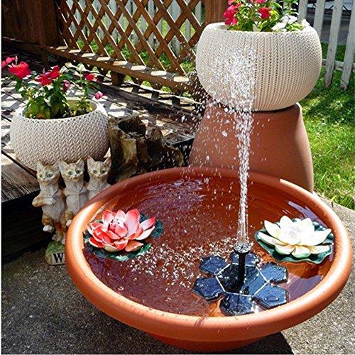 Solarbetriebene Mini-Brunnenpumpe von Rcool, dekorative Vogeltränke für Garten, Teich und Aquarium
