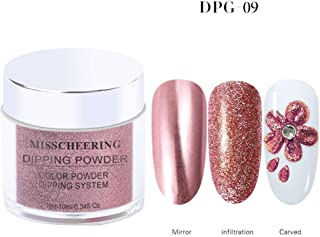 10 ml/pot Dipping Nail Powder Nail Mirror Glitter Platinum Powder Metallic Color Nail Art UV Gel Polishing Chrome Flakes Natural Dry Pigments Dust Decorations Manicure (DPG-09 rose gold)