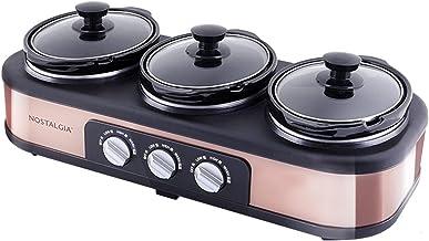 Mijoteuse électrique et serveur de buffet, 3 pots de 1,5 L, chauffe-plats triple - 3 pots en céramique supplémentaires de ...