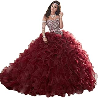 Gorgeous Heavy Beaded Organza Quinceanera Dresses for Sweet 16 Ball Gowns