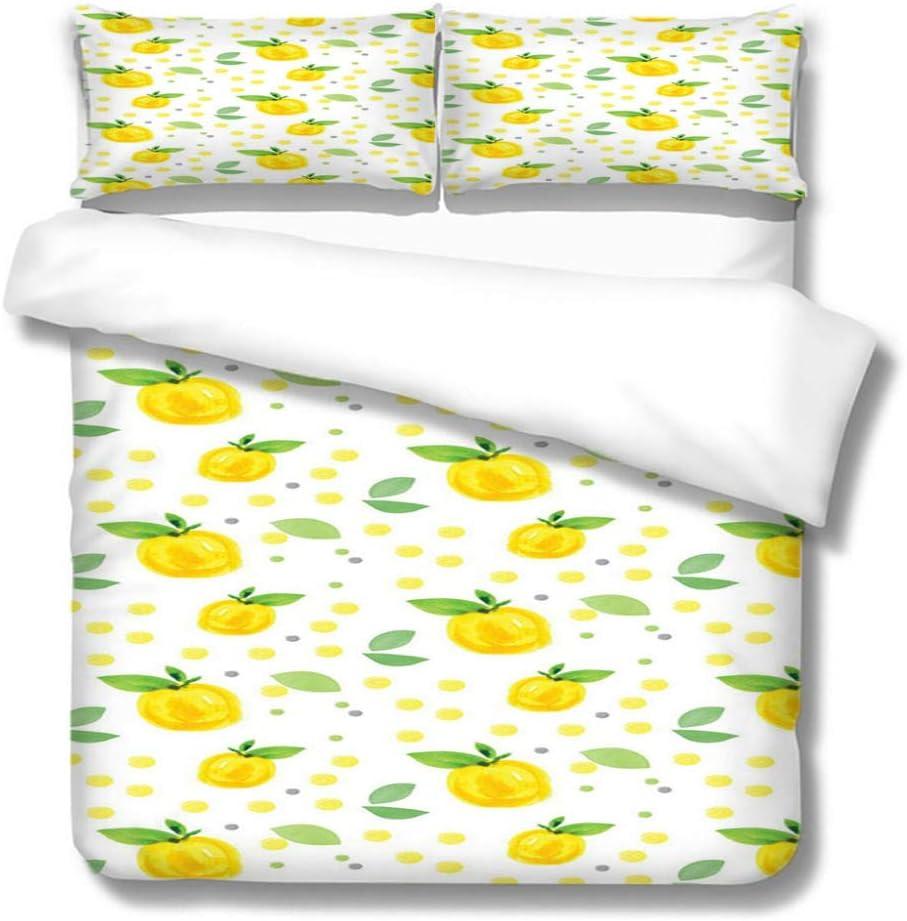 FREEZG New life - Duvet Covers King Size -Yellow 3 Pieces fruit10 Translated Lemon