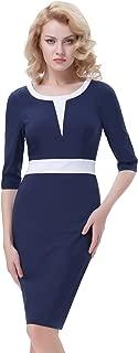 Belle Poque Retro Stretchy 3/4 Sleeve Pencil Dress Contrast Color Business Work Dress BP392