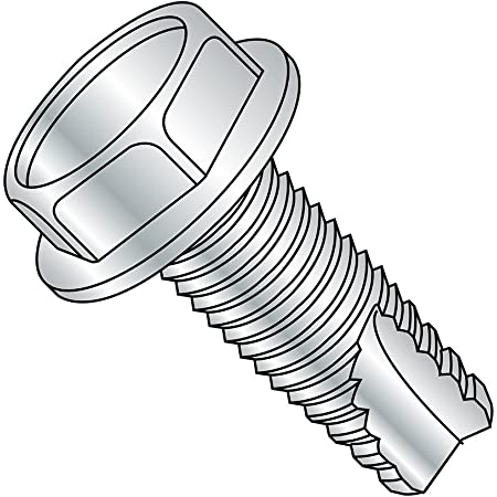 Zinc Plated Finish Pack of 50 Steel Thread Cutting Screw Serrated Hex Washer Head 1//4-20 Thread Size 3//4 Length Type F