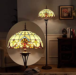 Baroque Tiffany Style Stained Glass Floor Lamp with 18 Inches Handmade Floor Uplighter for Living Room Bedroom 2 Light Antique Floor Standing Lighting,110-240V,E27