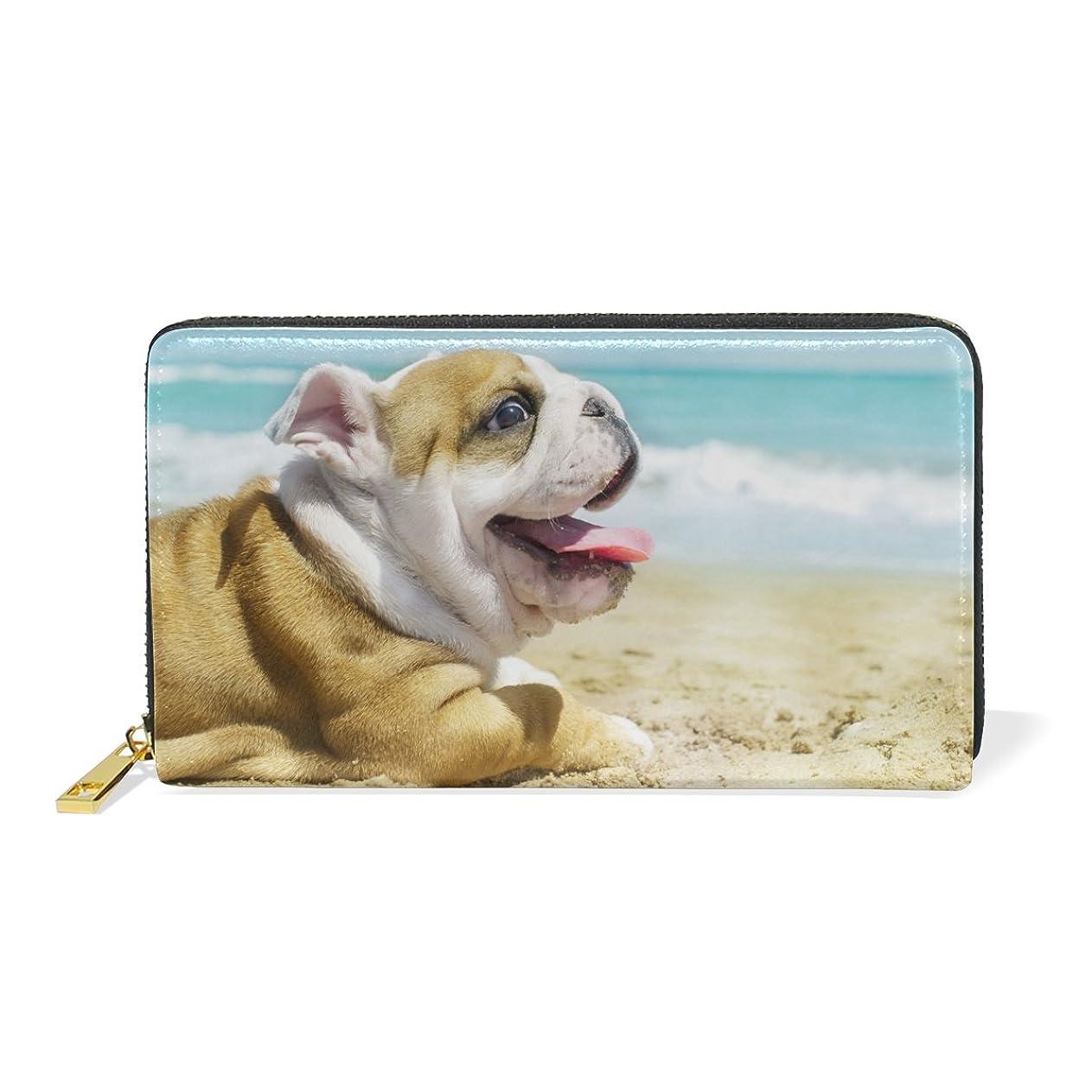 ホース九昼食マキク(MAKIKU) 長財布 レディース 本革 大容量 ラウンドファスナー カード12枚収納 プレゼント対応 海岸の犬 爽やか 癒される