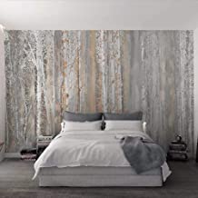 UKWCDSKK Self-adhesive wallpaper Wallpaper 3D Wood Texture Forest Oil Painting Style Wall Picture Living Room Bedroom Back...