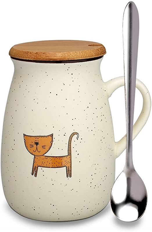 Cat Mug Funny Ceramic Coffee Mugs With Lid And Spoon Cute Tea Cups Novelty Gift For Cat Lovers Women Girlfriends