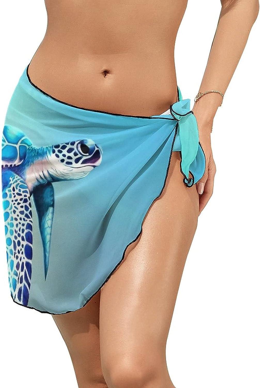 Women Beach Wrap Sarong Cover Up Cute Sea Turtle Sexy Short Sheer Bikini Wraps