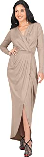 Womens Long Sleeve Formal Wrap Draped Cocktail V-Neck Gown Maxi Dress