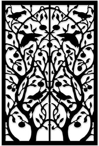 Acurio Lattice Tree of Life Outdoor Decor Panel Screen, Black, 48 x 32 x 1/4'