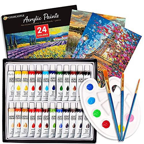 Pintura Acrilica, 24x12ml Set de Pinturas Acrílicas con 3 Pinceles, 1 Paleta, 2 Lienzo, para Tela, Cerámica, Madera, Papel y Manualidades, para Principiantes y Niño