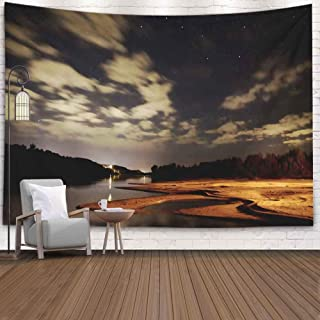 SOAUTY Tapestry Wall, Tapestry Wall Hangings 80X60Inch Night River Stars Clouds Sky Beach Illuminated Living Room Bedroom Thanksgiving Christmas Halloween Day Fall Tapestry Wall Covering Home Décor