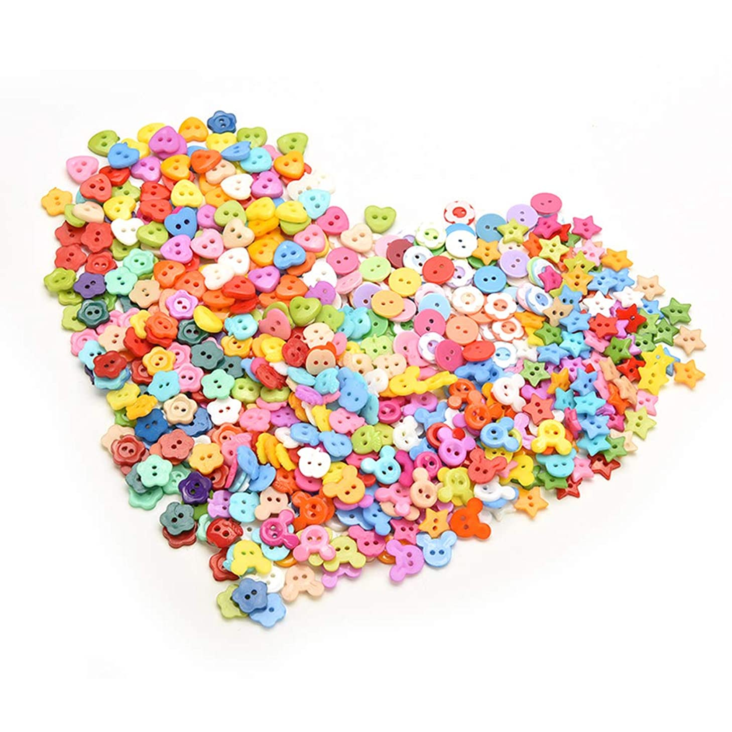 Welecom 1000Pcs Flower Craft Buttons Favorite Findings Basic Button Christmas Mixed Colors Size Bulk Buttons,2 and 4 Holes Round Resin Sewing Scrapbook Buttons for DIY Art&Crafts Projects
