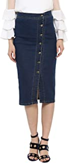 StyleStone (3380DiagBtnSkirt) Women's Denim Diagonal Button Skirt