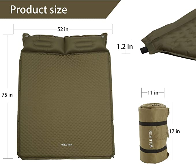Ubon Coj/ín de Dormir Autoinflable para Acampar Doble Almohadas para Colchonetas
