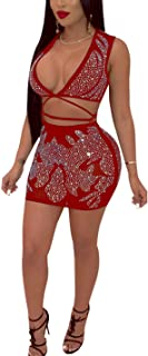 Aro Lora Women's Sexy See Through Rhinestones Crop Top Mini Skirt Set Bandage Two Piece Dress Outfit