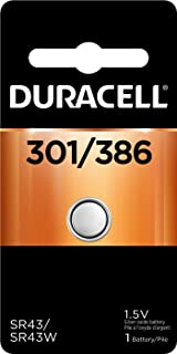Duracell - 301/386 Silver Oxide Button Battery - long lasting battery - 1 count