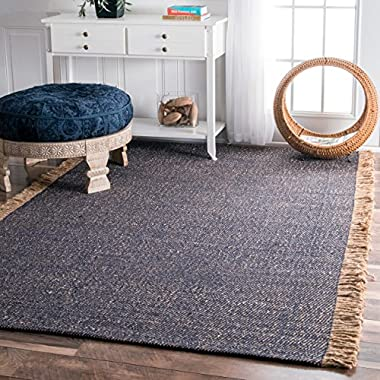 Flatweave Solid Tassel Blue Area Rugs, 3 Feet by 5 Feet (3' x 5')