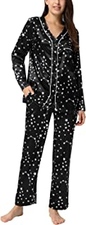 Women Stars Satin Button Down Pajama Set Short Tops with Long Pants Sleepwear Casual Cute Loungewear Set