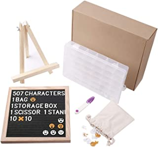 HAUEA Felt Letter Board 10 x 10 with Sorting Tray Tripod Stand 507 Changeable Letters & Emojis Wall Mount Hanger Canvas Bag Scissor Message Word Board Letterboard Marquee Sign Best Gift