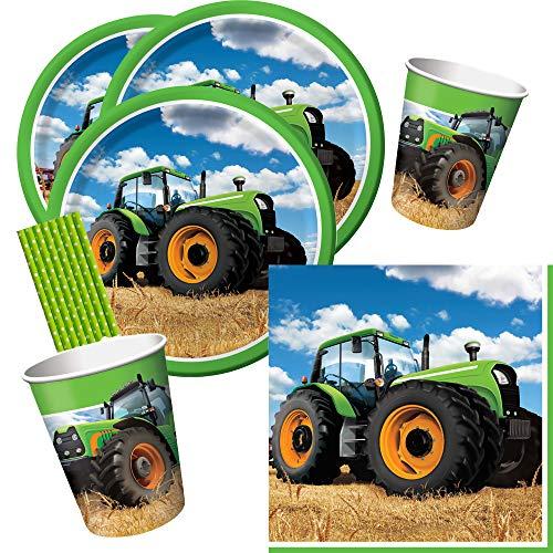 spielum 40-teiliges Party-Set Traktor Teller Becher Servietten Trinkhalme für 8 Kinder/ Personen