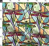 Libellen, Farbiges Glas, Fenster, Glas, Rot, Tiffany Blau