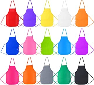Caydo 15 Pieces Middle Size Kids Painting Apron for Ages 5 to 10, in Kitchen, Classroom, Community Event, Crafts and Art Painting Activity, 15 Colors